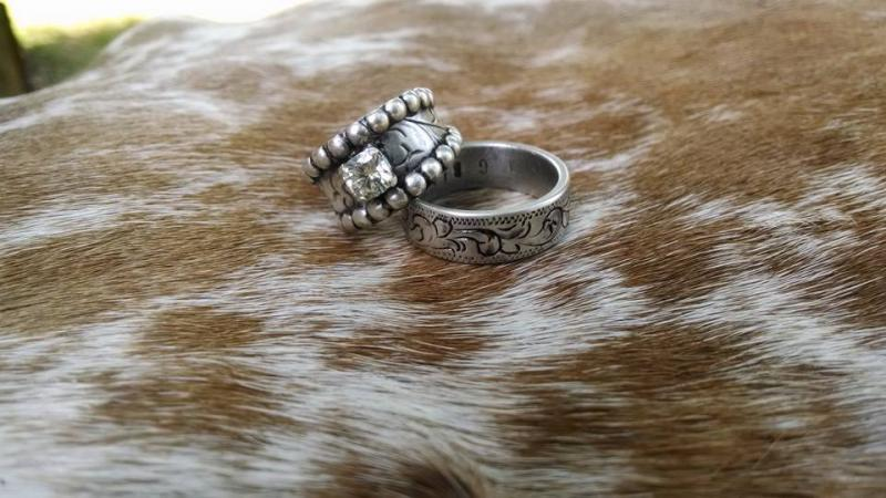 Bianchi Spurs Western handmade ringswedding bands Steel Wedding band